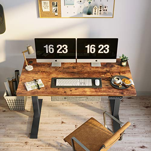 Product Image 4: FEZIBO Electric Height Adjustable Standing Desk with Drawer, 48 x 24 Inches Splice Board, Black Frame/Rustic Brown Top