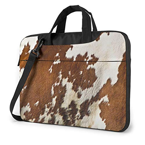 Red and White Cowhide Unisex Laptop Shoulder Bag Messenger Case for Computer Briefcase Carrying Sleeve
