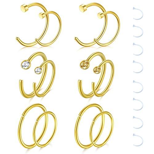Zolure 12-16stk 18 Gauge Nasenpiercing Nasenring Hoop Piercing 316L Chirurgenstahl Piercing Set Schmuck Gold