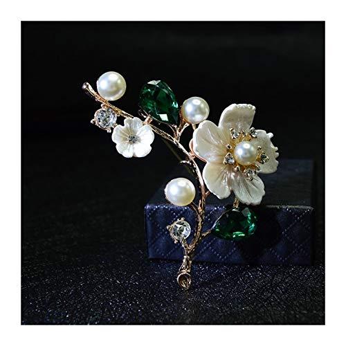 Juan-375 Klassisch Shell-Perlen-Blumen-Damen-Brosche Brosche Rote Kristall Brosche Hochzeit Schmucksache-Qualität für Frauen, Mädchen, Damen, (Metal Color : Green)