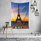 Tapiz de mandala para colgar en la pared, tapiz de pared, diseño de torre Eiffel de París, decoración de pared, decoración para el hogar, decoración de dormitorio