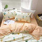 FenDie Cacti Bedding Queen Floral Bedding Sets, Cotton Reversible Yellow Peach Quilt Cover Full Girl Vintage Duvet Cover, Soft Chic Zipper Cactus Comforter Sets Duvet Cover (No Comforter)