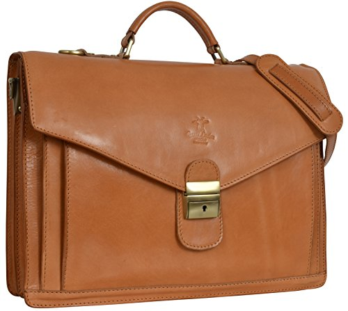 Gusti Leder studio ''Harper'' borsa ventiquattrore da lavoro per portatile 15,6' unisex elegante stilistica miele 2B34-93-5