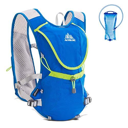 Azarxis - 8L Mochila de Hidratación Trail Running Ligera Chaleco Ciclismo con Bidon de Agua para Senderismo Escalada Corriente (Azul - con una vejiga de Agua (1.5L))