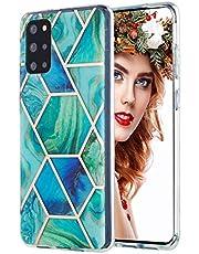 Carcasa de silicona para Samsung Galaxy S20+/S20 Plus, diseño de mármol IMD, flexible, color verde