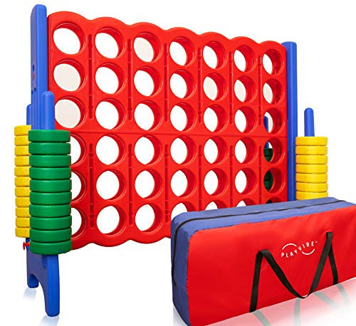 Jumbo 4-to-Score Giant Game Set, with Storage Carry Bag Included | Life Size Connect-All-Four Game | 4 in A Row for Kids and Adults | 4' Wide by 3.5' Tall | Giant Outdoor Games Toys | Outdoor / Indoor