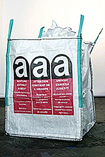 Big Bag Asbest 110 x 110 x 115 cm, Schürze,Boden geschlossen, uv-stabilisiert, beschichtet, 4 Hebeschlaufen, mit Asbestwarndruck, SWL 1000 kg, SF 5:1