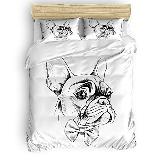 EZON-CH Bedding Cover Set Lightweight 4Pcs Comforter Cover Set (1 Duvet Cover+1 Bed Sheet+ 2 Pillow Shams),Hand Drawn French Bulldog Prints All Season Bedding Set for Bedroom Decor,Full Size