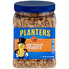 HONEY ROASTED PEANUTS: Go nuts for smart snacking with PLANTERS Honey Roasted Peanuts. These premium quality peanuts are a nutrient dense, sweet and salty snack PREMIUM QUALITY PEANUTS: This 34.5 ounce (2.156 lb.) resealable jar of PLANTERS Honey Roa...