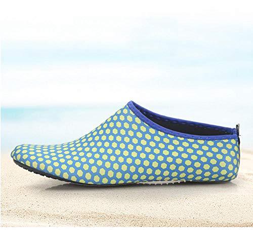 Tingxx Hombres Y Mujeres Zapatos Suaves Descalzos Calcetines De Playa Zapatos De Snorkel Zapatos De Buceo En La Playa Zapatos Antideslizantes para Caminadora Aqua_Blue_Mesh_38 39