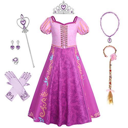 IBAKOM Disfraz infantil de princesa Rapunzel, para carnaval, Halloween, Navidad, cosplay, fiesta, cumpleaos, festival, manga corta, color lila Morado (con accesorios) 4-5 Aos