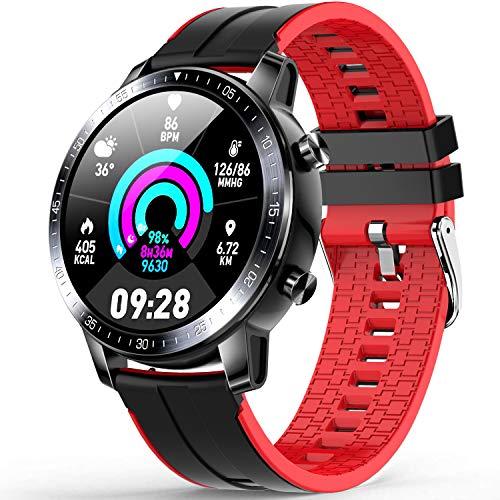 Smartwatch, Orologio Uomo Smartwatch IP68 Fitness Tracker, Monitor della Pressione Sanguigna, Misuratore di Ossigeno nel sangue, Cardiofrequenzimetro Smart Watch compatibile con Android iOS -Rosso