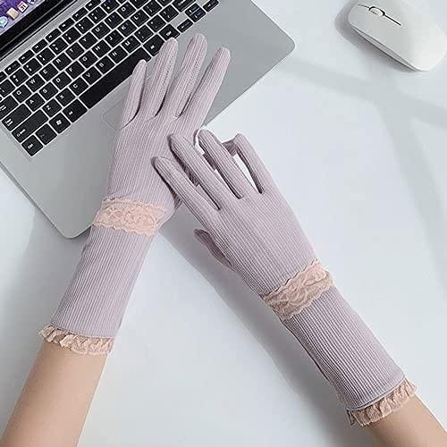Sommer dünne Sonnencreme Handschuhe, Damen Elegante Spitze EIS Seide handschuh, draußen Fahren und reiten, rutschfeste Gram Touchscreen mittel länge TINGG (Color : Purple)