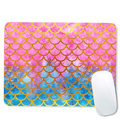 RUYIDAY Computer Mouse Pad with Non-Slip Rubber Base, Premium-Textured & Waterproof Mousepad, Mouse Pads for Computers, Laptop, Gaming, Office & Home, 9.5 x 7.9 inches (Mermaid Scale)