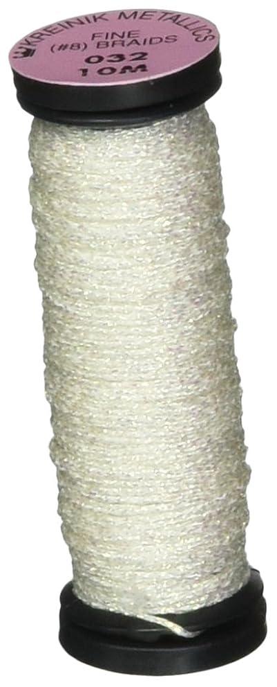Kreinik No.8 Fine Metallic Braid, 10m, Pearl