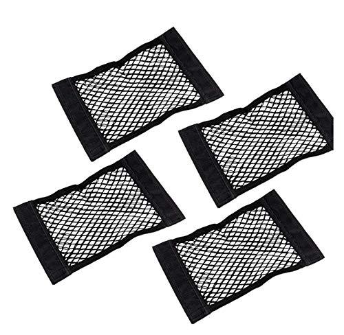 Heredado 4 x Organizador de almacenamiento de malla de nylon elástico con strips de V-Elcro fuertes, organizador de arranque de la bolsa de arranque de la red de automóviles con V-ELCRO NEGRO (250 x 4