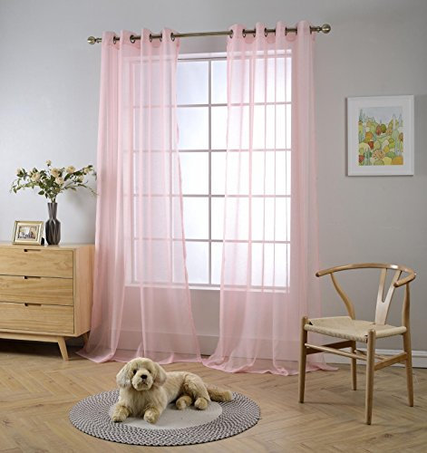 """Miuco 2 Panels Grommet Textured Solid Sheer Curtains 63 Inches Long for Bedroom (2 x 54 Wide x 63"""" Long) Pink"""