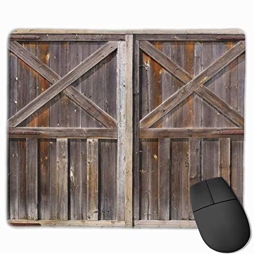 Oude houten schuur deur bord bruin gepersonaliseerd ontwerp muismat Gaming muismat met gestikte randen muismatten, anti-slip rubberen basis, 9.8x12 inch, 3mm dik - Beste cadeau idee