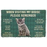 ドアマット3D印刷フロアマット屋外マットリビングルームmat3D覚えておいてくださいグレータビー子猫猫ハウスルールカスタムドアマットパピーマットバスルームマット屋内屋外ドアマットクリスマスハロウィーン