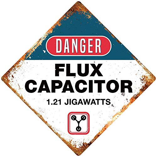 HNNT Great Tin Sign Danger Flux Capacitor Diamond Wall Aluminum Metal Sign for Wall Decoration 8x12 Inch