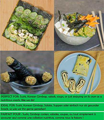 Sushi Nori Seaweed Sheets - Rich Flavour, 50 Pack, Top Grade (Gold), Baked May 2020, Straight from Family Farm in South… 1