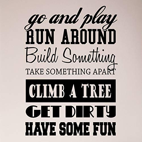 Collage Kids Sayings Go Play Run Around Build Something Climb Tree Get Dirty Have Fun Sticker mural