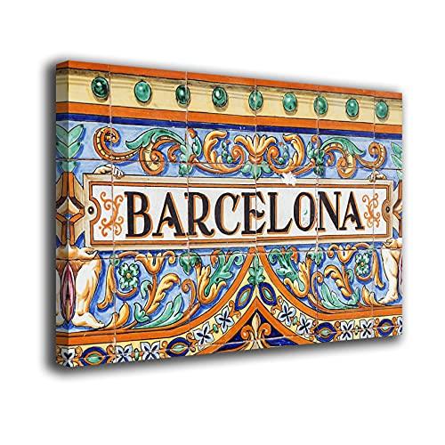 Desconocido Cuadro Lienzo Canvas Barcelona Placa Calle – Varias Medidas - Lienzo de Tela Bastidor Madera de 3 cm - Impresion Alta resolucion (50, 31)