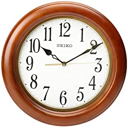 Seiko 12 Round Wood Classic Wall Clock