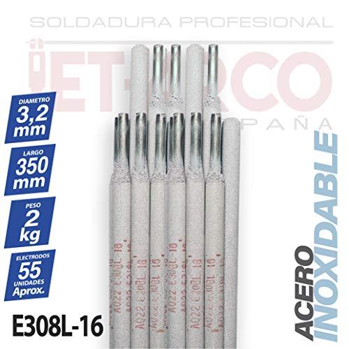 AWS A5.4 E308L-16. Electrodo tipo Rutilo 308L-16 para soldadura de Acero Inoxidables. MMA (Ø 3,2mm x 350mm. Paquete 2 Kg). JET-ARCO España. Ref.: J109EL