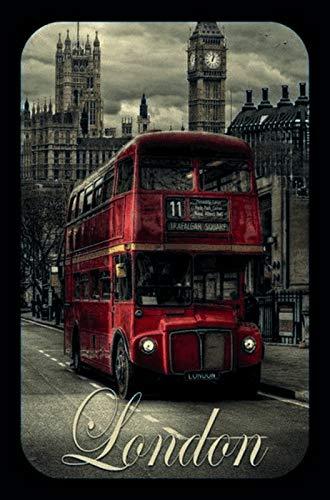 FS London Bus Big Ben Westminster Parliament blikken bord gebogen metalen teken 20 x 30 cm