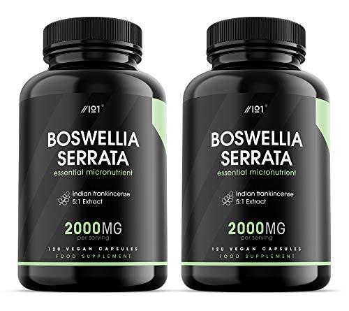 Raw Boswellia Serrata Extract Capsules - 2000mg - 120 Vegan Caps - Indian Frankincense - No Additives — Non-GMO, Gluten Free. (2 Pack)