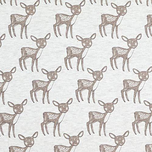Fabulous Fabrics Alpenfleece Melange Süßes Rehkitz – grau — Meterware ab 0,5m — zum Nähen von Kinderbekleidung und Sweatshirts