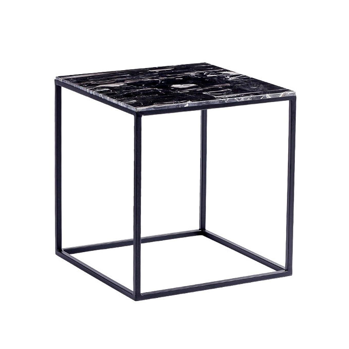 み仮定、想定。推測チーターKJzhu メタルスモールスクエアテーブル、北ヨーロッパスタイルのリビングルームサイドテーブル小さなコーヒーテーブル大理石コーナー数少ない装飾テーブルコーヒーテーブルカジュアルな読書テーブル40 * 40 * 42CM 大 (Color : Black)