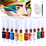 Happlee 10Cols Face and Body Paint with A painting Brush and 1Pcs Palette