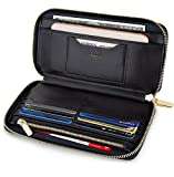 SERMAN BRANDS Women's Classic Clutch Wallets for Women RFID Blocking. Black Purse Card Wallet w. Phone Holder (Iconic)