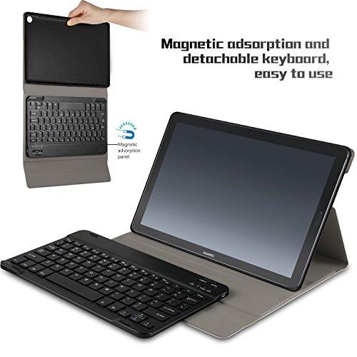 IVSO Tastatur Hülle für Huawei MediaPad M5 10.8, [QWERTZ Deutsches Layout] Keyboard Case, SmartShell Tastatur für Huawei MediaPad M5 10.8 Pro / M5 10.8 Zoll 2018 Modell, Schwarz - 3