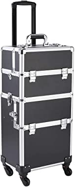 NUFR Home Rolling Train Case 3 in 1 Artist Cosmetic Makeup Case Trolley Professional Lockable Aluminum Cosmetic Organizer Mak