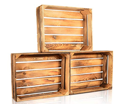 CHICCIE 3 Set Geflammte Obstkisten - 50cm x 40cm Holzkisten Weinkisten Holz Kisten Apfelkisten Obstkiste Gebrannt