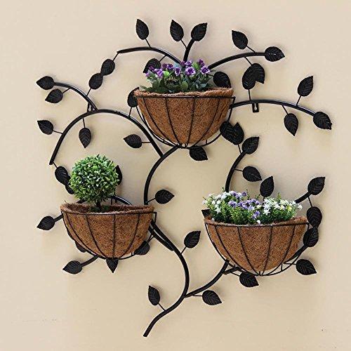 LLLXUHA Art de Fer métal Mural Support de Fleurs, Simple Mur Suspension Pot à Fleurs intérieur Mur Cadre décoratif, Black, 85 * 85cm