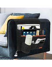 SIMBOOM Sofa armleuningen organizer, bedzakken anti-slip opbergtas voor boek, tijdschriften, iPad, mobiele telefoon, afstandsbediening - donkergrijs
