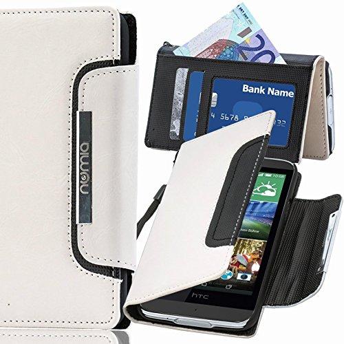 numia HTC Desire 728G Hülle, Handyhülle Handy Schutzhülle [Book-Style Handytasche mit Standfunktion & Kartenfach] Pu Leder Tasche für HTC Desire 728G Hülle Cover [Weiss-Schwarz]