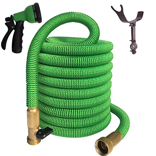 TruTec 75 Foot, Double Layer Latex Core, Solid Brass Fitting Nylon Fabric, Spray Nozzle Stainless Steel Holder, Expanding Garden Hose - Green