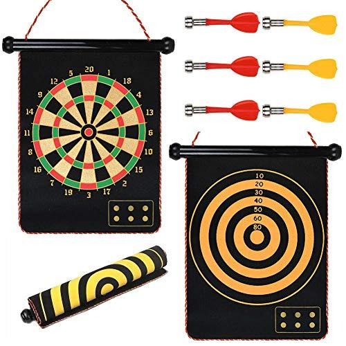 C&T Handels Magnetdart mit 6 Magnetpfeilen, 50x41 cm, 2 seitiger, magnetische Dartspiel Set (50x41)
