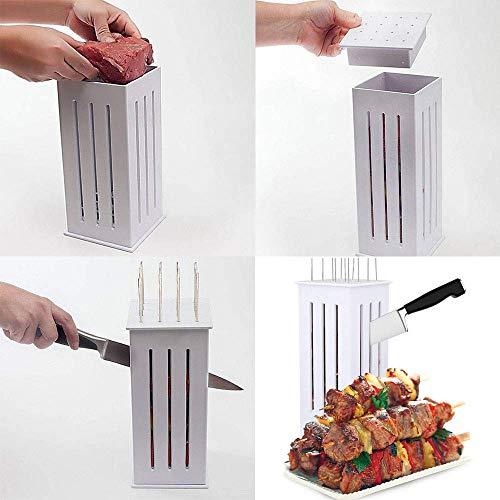 5129+XWwU9L - Wghz Grillspieße Kebab Maker, 16-Loch-Brochettenschneider, Grillgabeln Grillzubehör, Fleischbroschetten-Spießmaschine, mit einigen Stöcken
