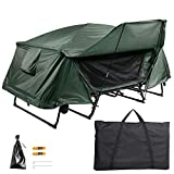 Yescom Double Tent Cot Folding Portable Waterproof Camping Hiking Bed for 2 Person, Green with Rain...