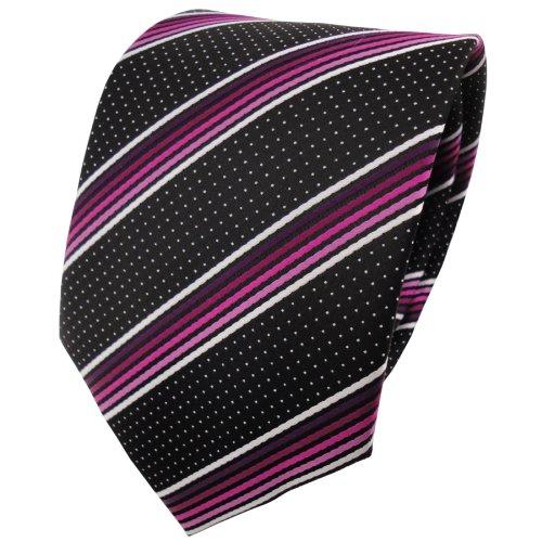 TigerTie - Corbata - magenta rosa blanco plata negro rayas