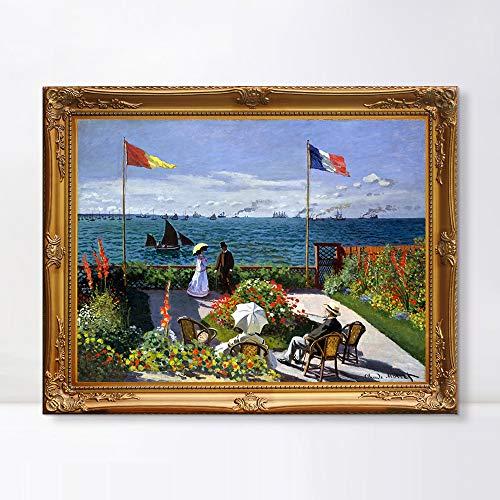 INVIN ART Framed Canvas Artwork,Garden at Sainte-Adresse (1867) by Claude Monet, Giclee Print Painting Wall Art Decor for Restaurant,Hotel,Bar,Living Room (Baroque Gold Frame, 28″x36″)