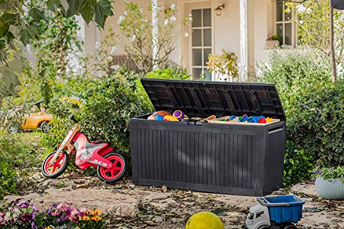 Koll Living Auflagenbox/Kissenbox 270 Liter Farbe : Graphit l 100{fa17d94a153dc12d4c74173f63a5f29a5f94cf6b6bbfacb0c6e39390ac5c0487} Wasserdicht l mit Belüftung dadurch kein übler Geruch/Schimmel l Moderne Holzoptik l Deckel belastbar bis 250 KG (2 Personen)