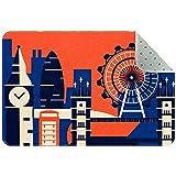 Yoliveya Felpudo suave, diseño abstracto, retro, de Londres, absorbente, antideslizante, para entrada, para casa, oficina, 31 x 50 cm