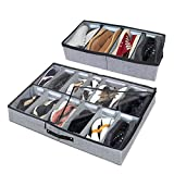 VONDERSO Shoe Storage Organizer with Large Adjustable Dividers and Breathable Fabric, Underbed Storage Solution with Clear Window, Under bed storage Containers for Kids, Men and Women Shoes (2Pack)